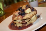 Vanilla Bean, Bluberry, Banana and Coconut Pancakes - It's a mouthfull!!